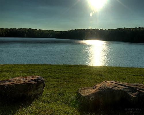 sunset sun lake water grass rock tennessee hdr canon1635mmf28lii canoneos1dsmarki fallcreeklake