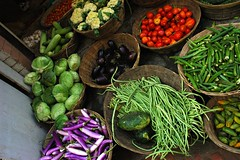 an array of local produce, arranged in baskets, Boudha, Kathmandu, Nepal