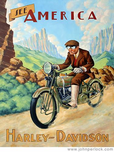 Harley Davidson Motorcycles by John Perlock Illustration