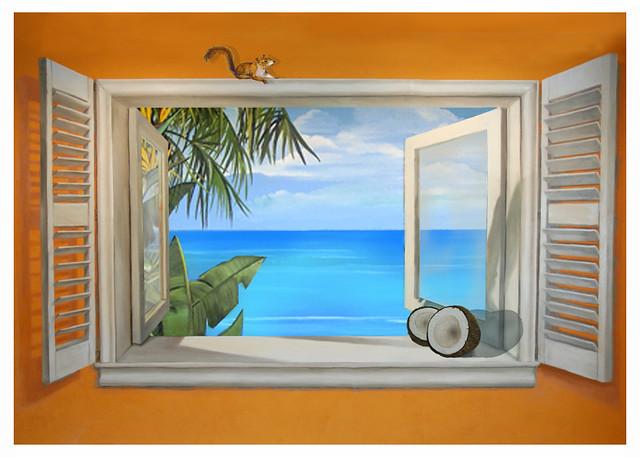 trompe l 39 oeil tropical window jamie brown. Black Bedroom Furniture Sets. Home Design Ideas