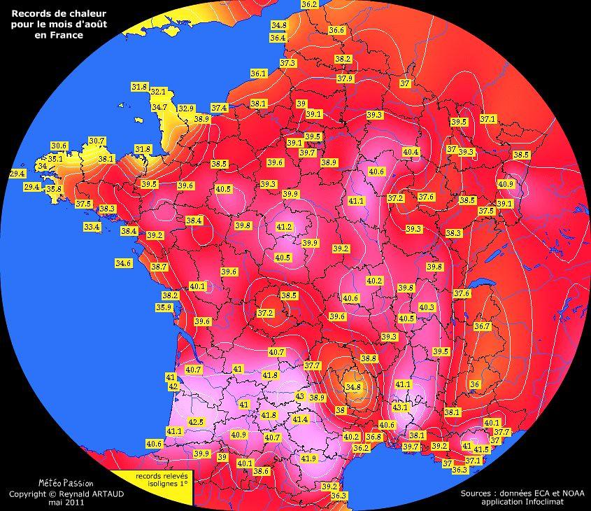 records de chaleur des températures maximales pour le mois d'août en France Reynald ARTAUD météopassion