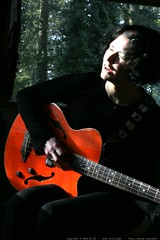 rachel and her new orange bass guitar (yamaha bex 4)…
