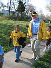 Senator Kit Bond walks to school with Columbia MO schoolchildren