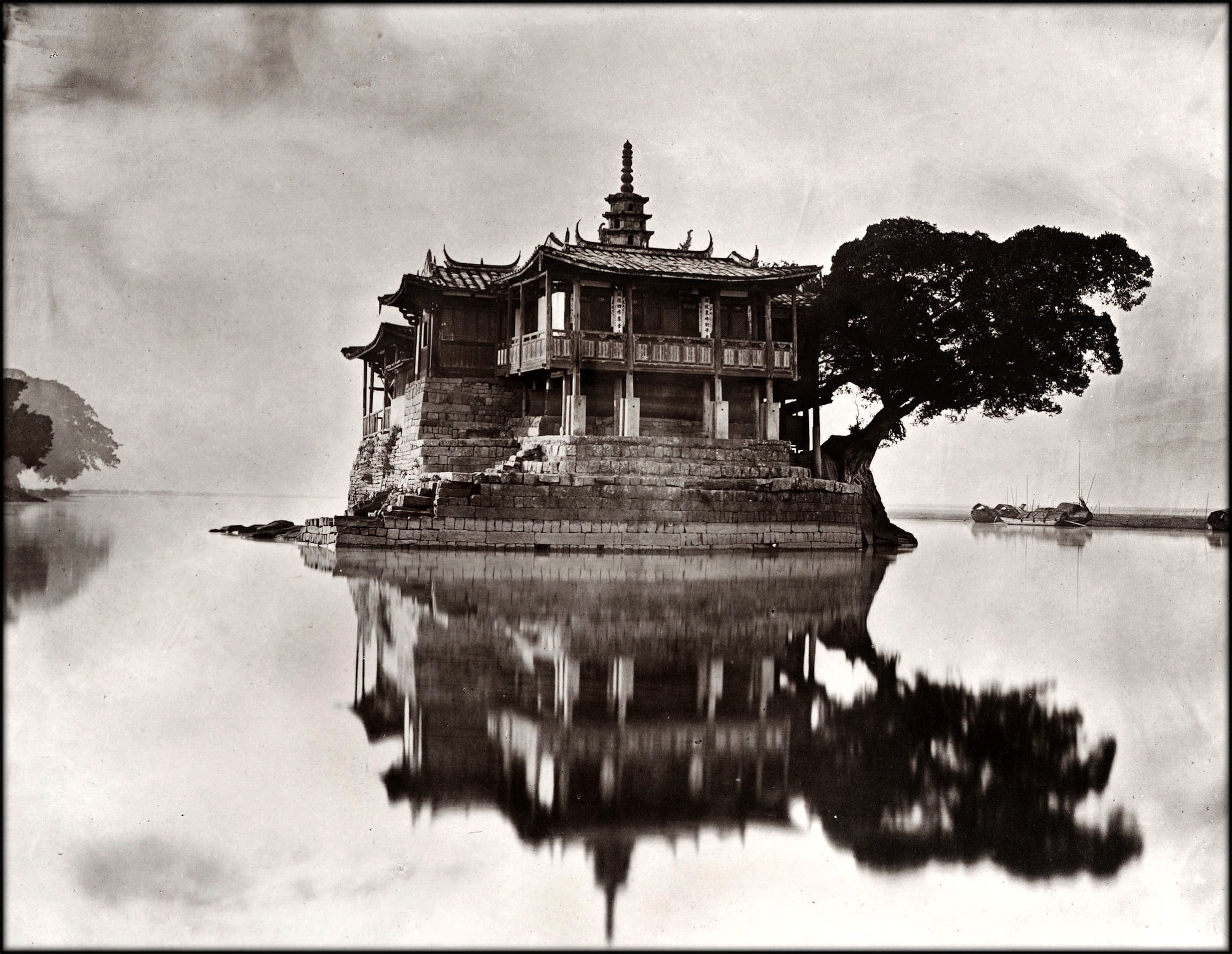 Island Temple On The River Min Near Foochow, Fukien Province, China [1870-1871] John Thomson