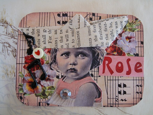 Rose Loves Adventure MIXED MEDIA COLLAGE ATC ACEO