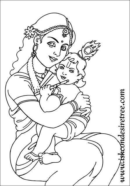 krishna pages for coloring - photo#29
