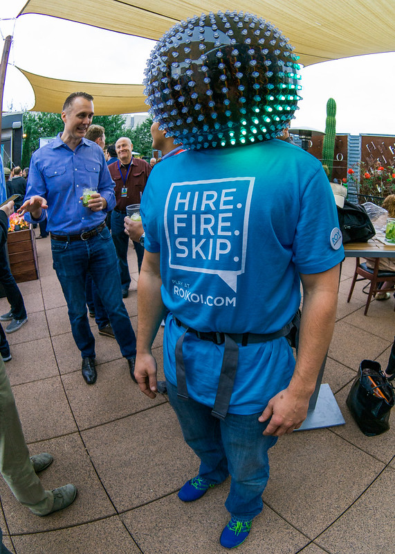 Roi Koi Wearing an LED Helmet at Fogo De Chao Entrepreneur's Lounge Party