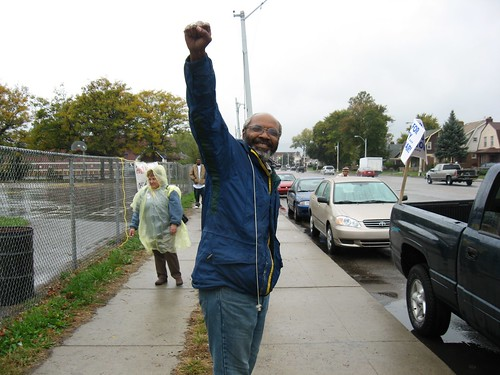 Abayomi Azikiwe, editor of the Pan-African News Wire, outside Zussman Playground on October 26, 2007. The MECAWI organization marched from the area to New Bethel Baptist Church. (Photo: Alan Pollock) by Pan-African News Wire File Photos