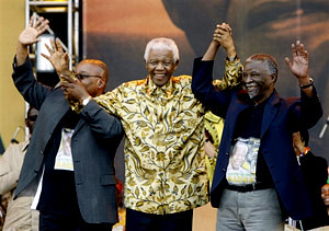Jacob Zuma, Nelson Mandela and Thabo Mbeki in 2008 honoring the 90th birthday of Mandela. Zuma was inaugurated as president of South Africa on May 9, 2009. by Pan-African News Wire File Photos