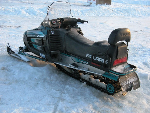 Snowmobile just outside monsieur roby 39 s ice fishing for Ice fishing snowmobile