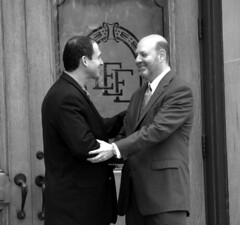 Andrew Epstein, 2010 LCBA President is congratulated by Keith Grossman, 2009 LCBA President, on the eve of his election