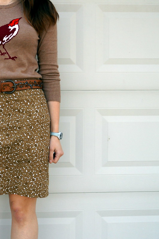 bird graphic sweater and green print skirt Target