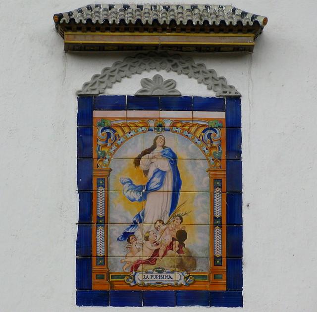 Pintura en azulejos de la virgen de la inmaculada - Pintura sobre azulejos ...