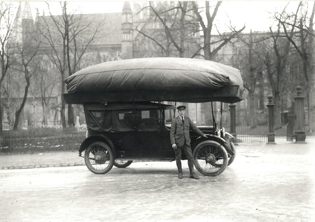 Taxi driver and his cab (1917)