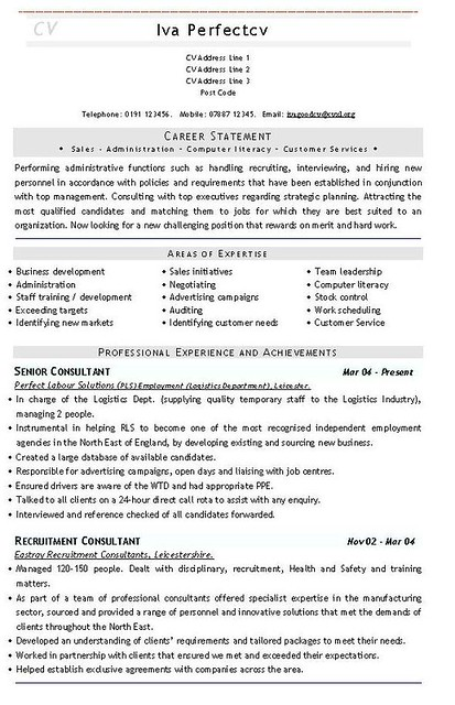 Recruitment Consultant Cv Template Flickr Photo Sharing