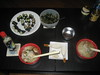raw sushi, shitake mushroom soup and seaweed salad