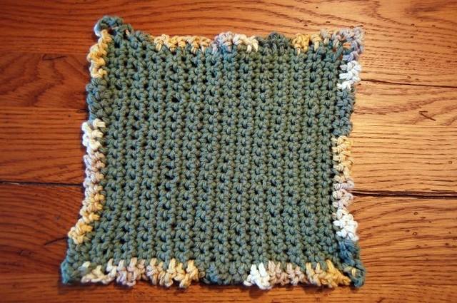 Crochet dishcloth with ruffle edging i am sold on crochet flickr photo sharing for Crochet ruffle edge