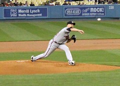 Tim Hudson pitching against the Dodgers.