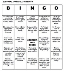 Cultural Appropriation Bingo
