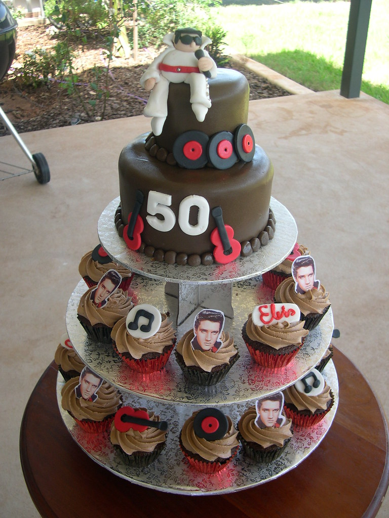 Elvis Fan 50th Birthday Cake Toppers Handmade And