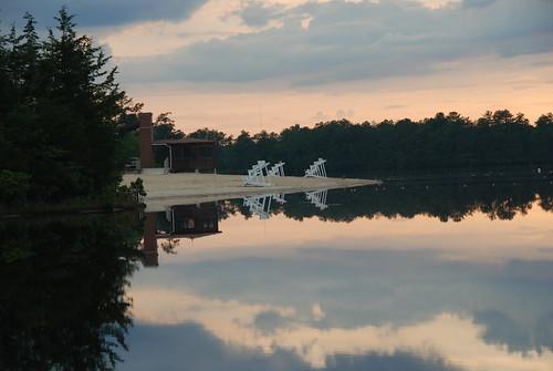 sunset sky lake reflection beach water newjersey still nikon nj d80