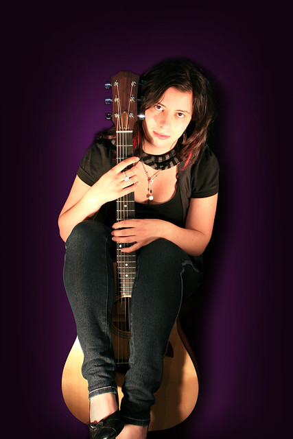 image Guitar and woman sharing