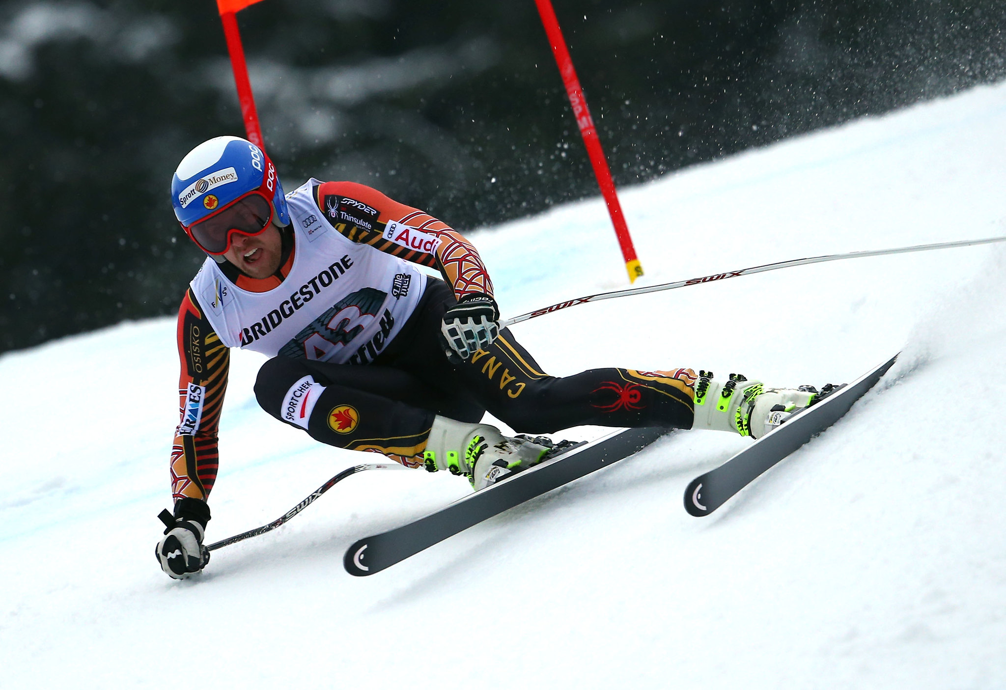 Dustin Cook competing in the downhill at the FIS Alpine World Cup in Kvitfjell, NOR