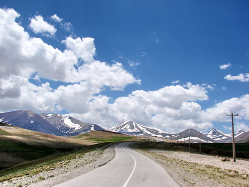 road blue sky cloud white mountain snow green nature landscape spring iran azerbaijan 50views kamal tabriz sahand eastazarbaijan alivahedian