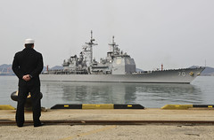 MOKPO, Republic of Korea (March 8, 2013) A Republic of Korea Navy sailor looks on as USS Lake Erie (CG 70) arrives in Mokpo. (U.S. Navy/MC1 Joshua Bryce Bruns)