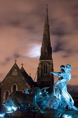 Gefion Fountain & St Alban's Church At Night