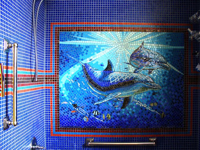 Shower wall dolphin mural made of glass tile by giorbello for Dolphin tile mural