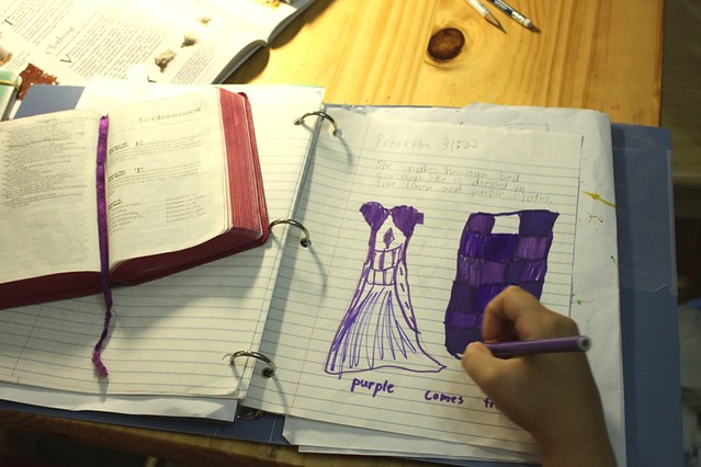 bible notebooking Dressed in Purple