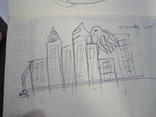 Cthulhu City. I drew this on the train.