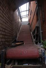 A conveyor belt in Colindale Hospital, London.