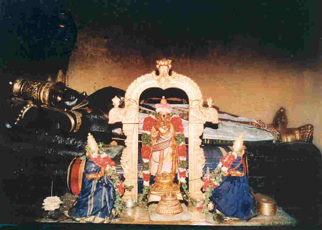 Sri Ranganatha, Lord Vishnu with Sridevi and Bhudevi.Sri Rangam