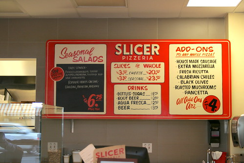Slicer Pizzeria menu