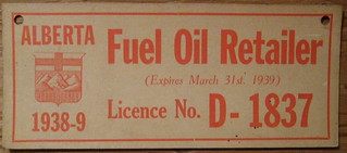 ALBERTA 1938-39 FUEL OIL RETAILER LICENSE #D-1837