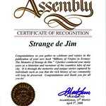 "Cal. State Assembly Certificate of Recognition for my book ""Billions of Virfgins in Ecstasy""f"