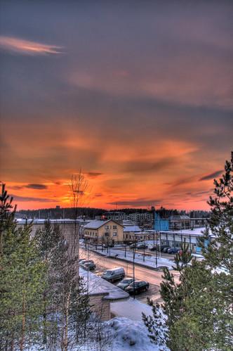 winter sunset sky snow building skyline architecture clouds finland landscape geotagged evening hdr mäntsälä cirrostratus tonemapped tonemap 3exp handheldhdr cumulushumilis