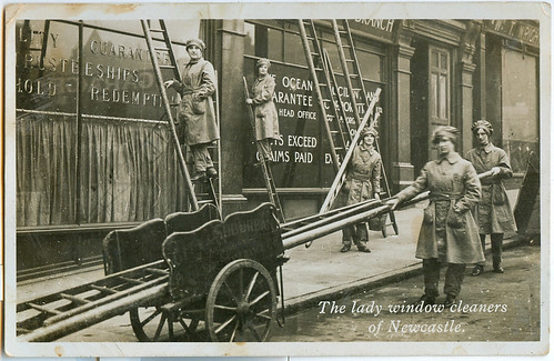 Postcard: Lady Window Cleaners of Newcastle - WW1
