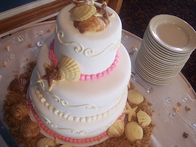 beach wedding cake at the oceanic wilmington nc carolina cakes