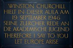 Gedenktafel für Winston Churchill an der Universität Zürich