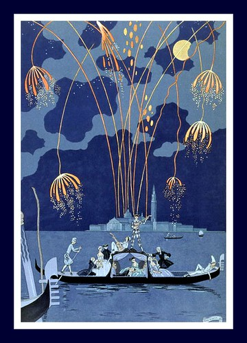 George Barbier -Fireworks in Venice for Fetes Galantes