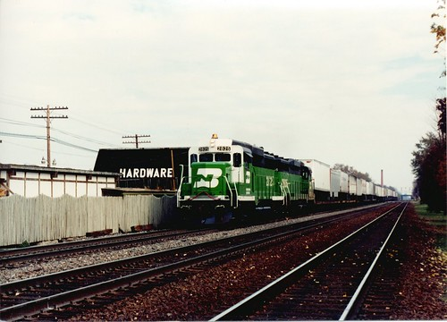 Westbound Burlington Northern freight train with white faced EMD GP-30 roadswitchers. Hindsdale Illinois. October 1989. by Eddie from Chicago