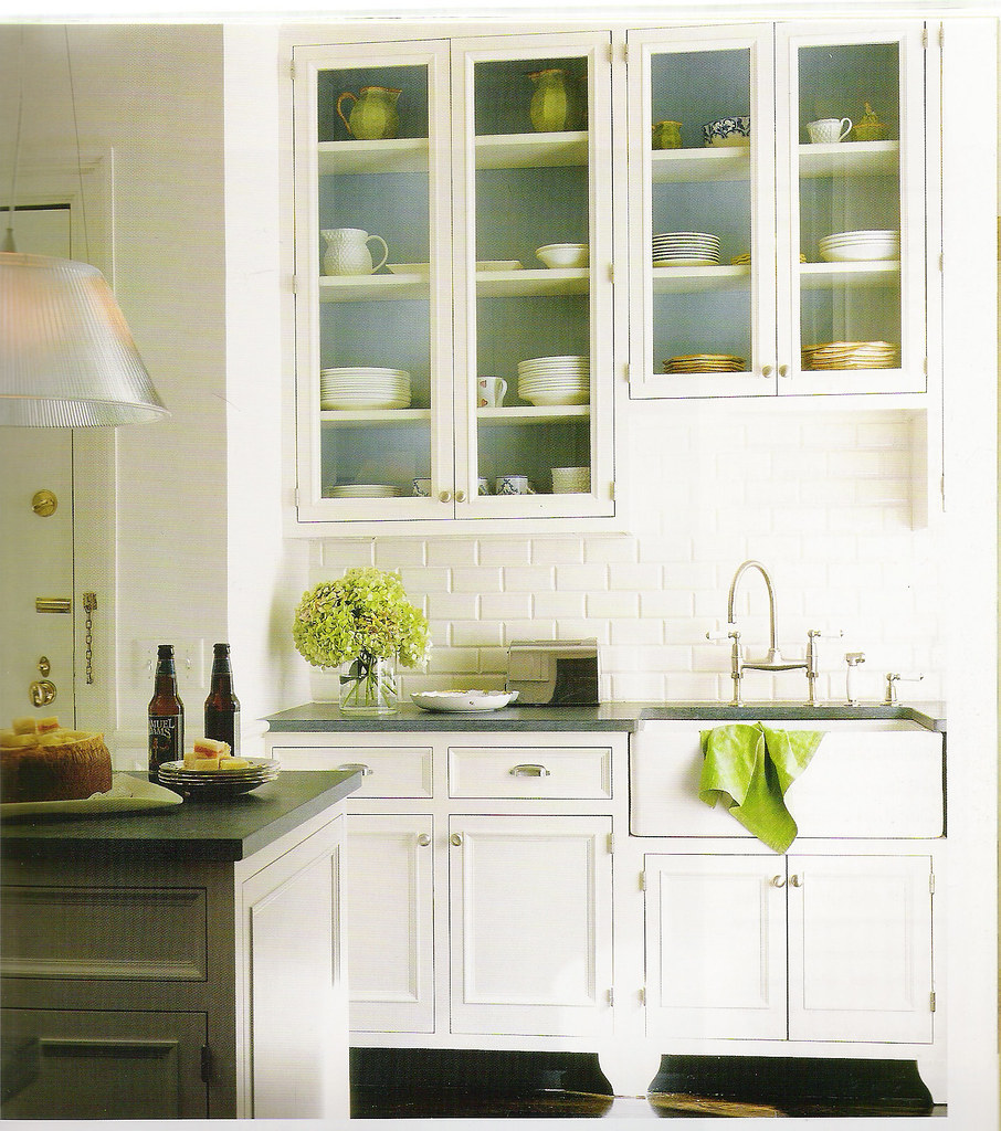 White kitchen + blue and green accents - a photo on Flickriver