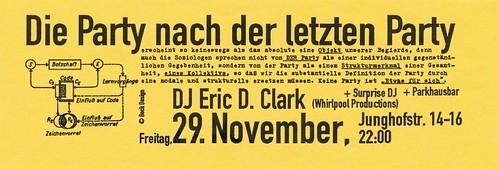 Flyer Die Party nach der letzten Party Kunstraum Junghofstraße 1996