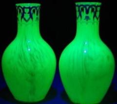 Pair of Harrach Enameled Vases in Uranium Glass, ca  1900 … | Flickr