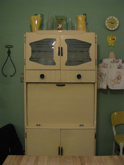 Vintage yellow kitchen cabinet flickr photo sharing for Bathroom cabinet yellow