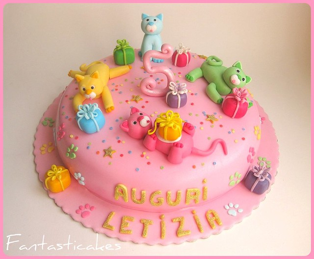 Kittens Birthday Cake Happy Kitten's Party Cake