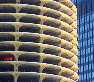 Marina City, Chicago. One-car garage.